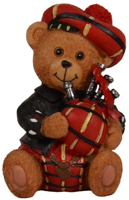 Teddybären-Figur mit Dudelsack und rotem Kilt