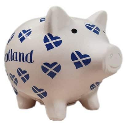 Sparschwein Schottland Flagge Herzen