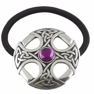 Haargummi keltisches Kreuz lila Stein