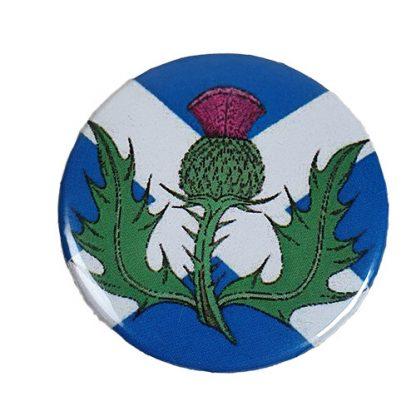 Button / Magnet mit St Andrews Cross und Distel